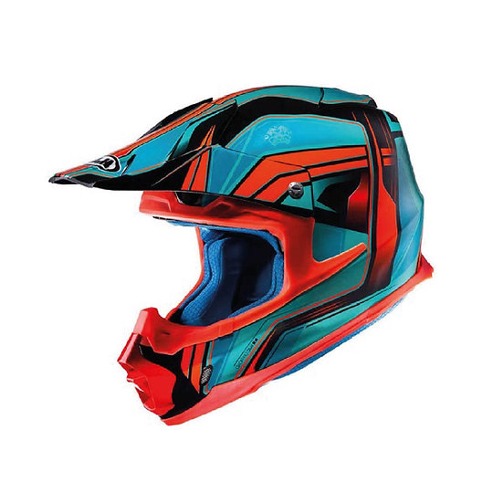 CASCO HJC GRAFICO FX CROSS PISTON AZUL/ANARANJADO