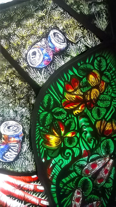 Contemporary artist glass UK Pinkie Maclure detail
