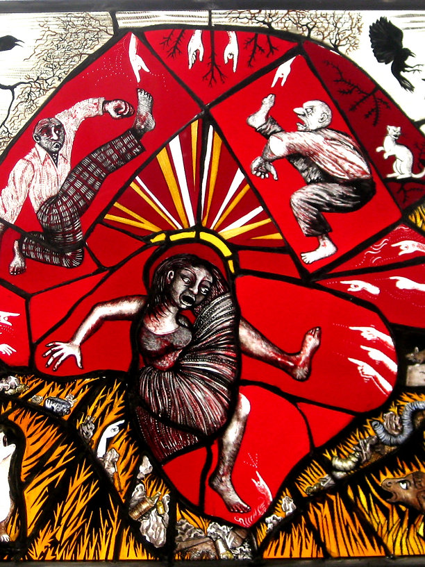 "Contemporary Stained Glass Pinkie Maclure 'Landfill Tantrum"" 2015"