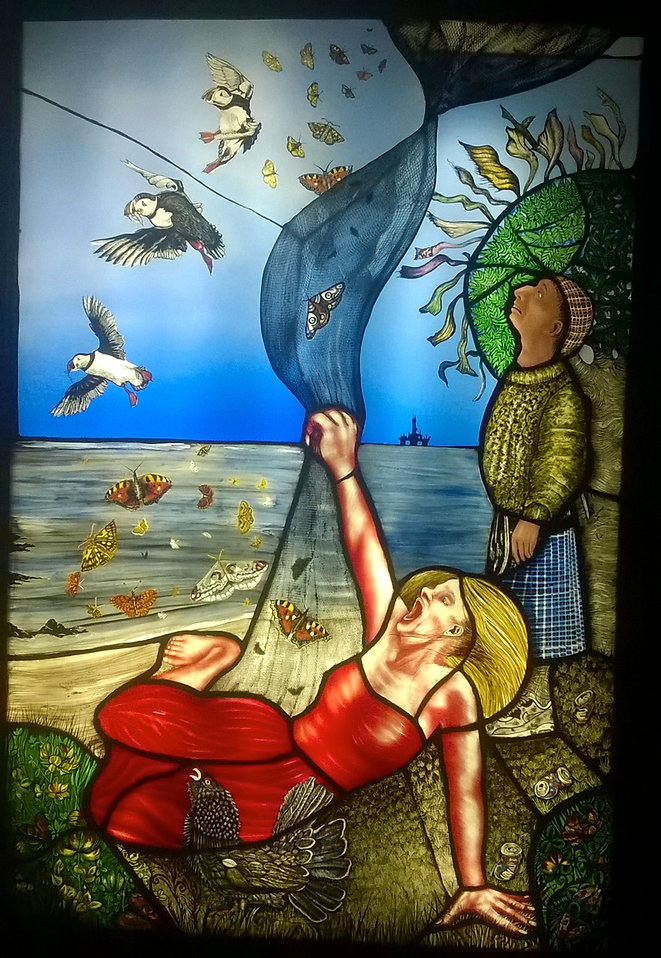 Contemporary Glass UK Stained glass Pinkie Maclure Rewilding puffins butterflies endangered