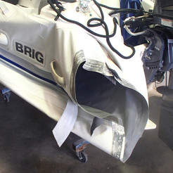 Cone repair completed on the port rear area of a Brig RIB
