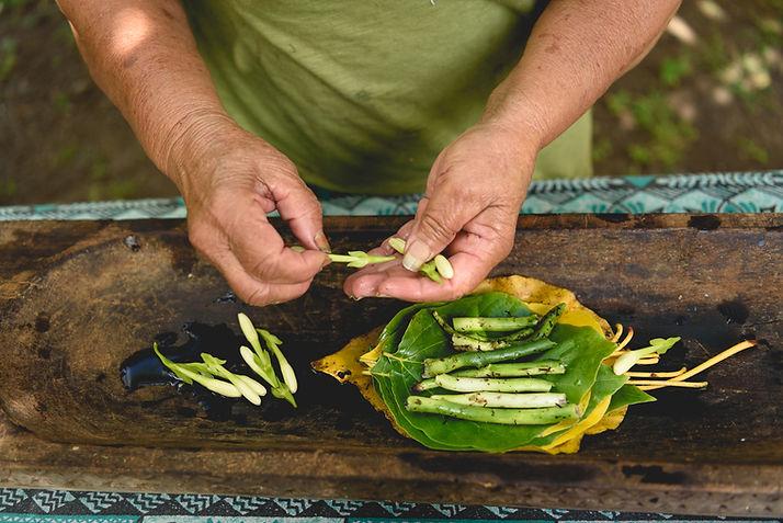 Confection d'un remède médicinal à base de plantes : le raau Tahiti