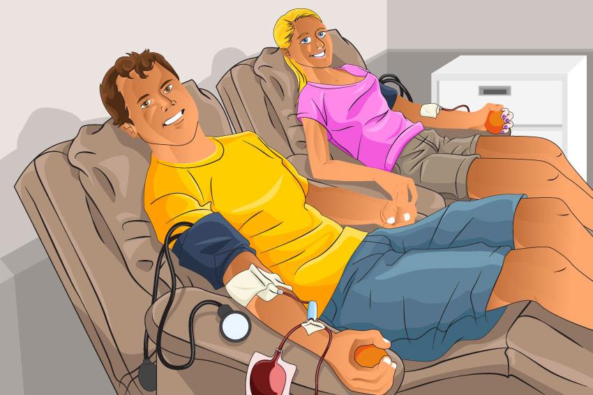 Homme et femme qui font un don de sang