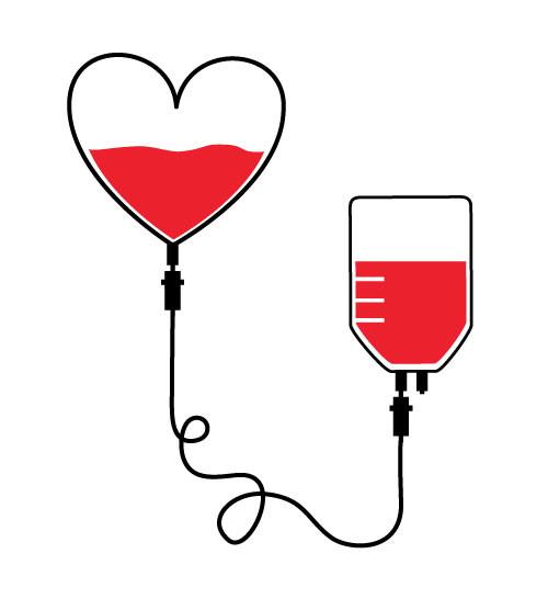 Don de sang : coeur vers poche de sang