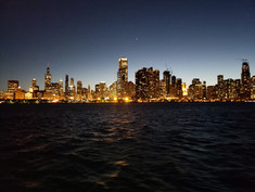 Chicago at night from dinner cruise