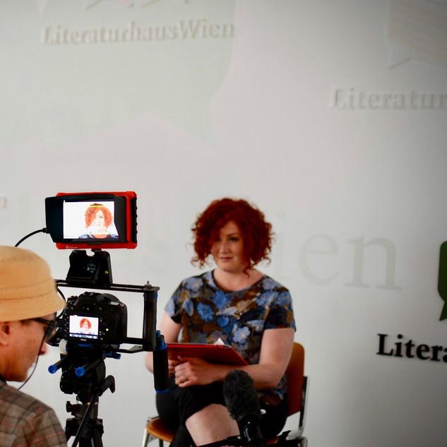 """Literaturhaus Wien, Dreh für die Kinodokumentation """"Arbeit statt Almosen"""", 2020"""