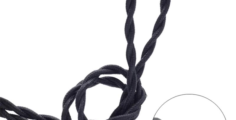Cable Vintage Negro Decorativo Retro Precio Por Metro