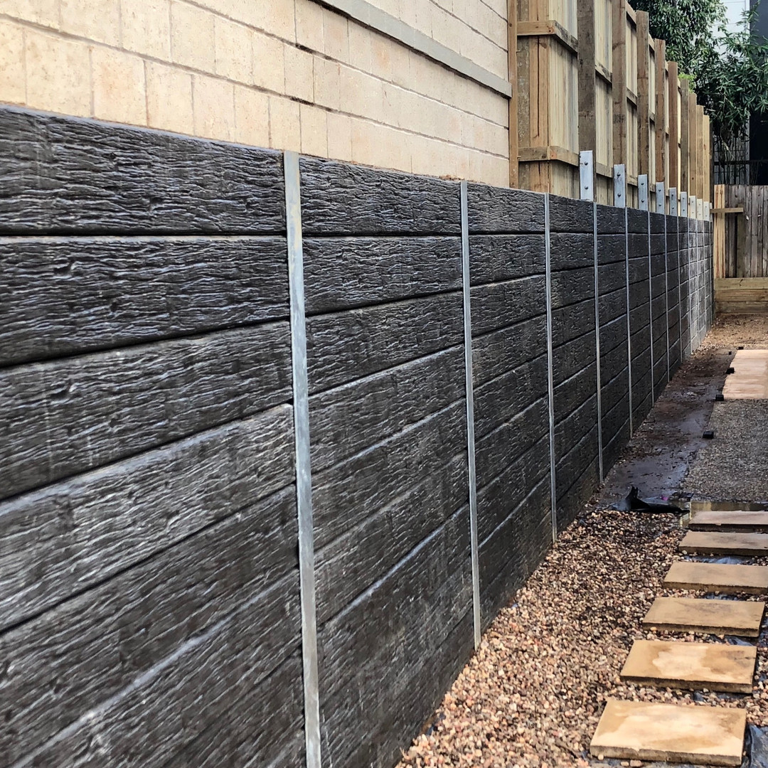 Sealed Smokey Timber Look Concrete Sleeper Retaining wall