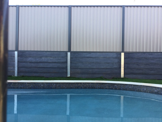 Charcoal Timber Look Concrete Sleeper Wall