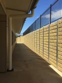 2.8 High Sandstone Block Effect Concrete Sleeper Wall