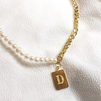 Half and Half Initial Necklace