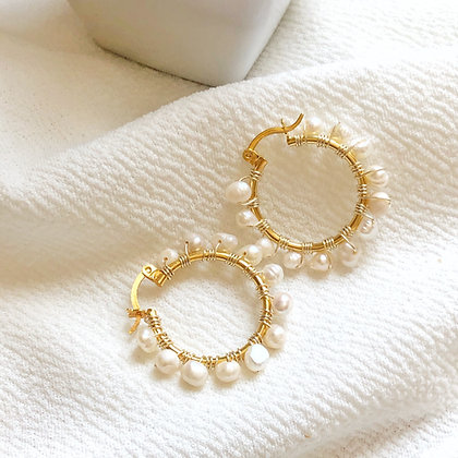 Pearls Hoops