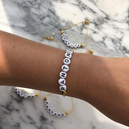 Shiny Black & White Name Bracelet