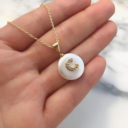 Inicial madre perla con Zirconia