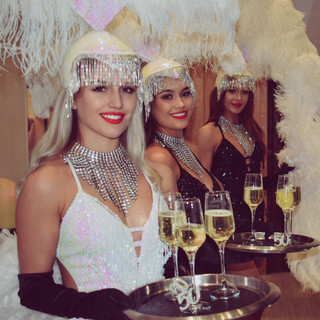 showgirls and prosecco reception