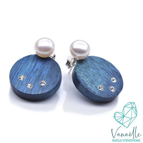 Boucles d'oreilles ear jacket en bois, argent sterling et perles  d'eau