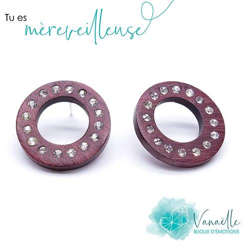Boucles d'oreilles anneaux en bois, argent sterling et cristaux Swarovski