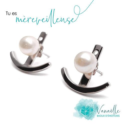Boucles d'oreilles ear jacket en argent sterling et perles blanches