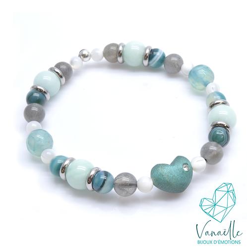 Bracelet coeur et pierres semi précieuses