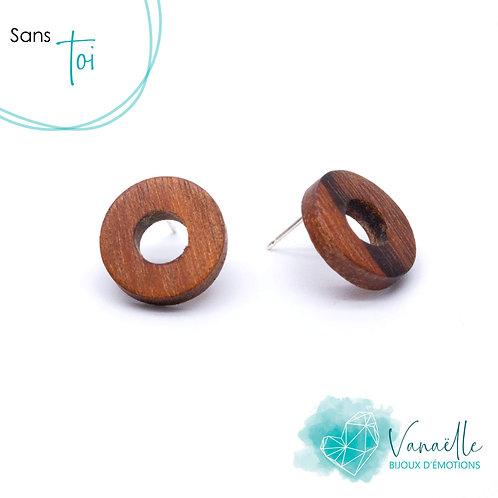Boucles d'oreilles cercles en bois, argent sterling