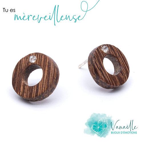 Boucles d'oreilles anneaux en bois, argent sterling et cristaux Swarovs