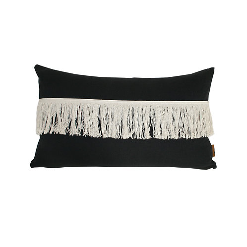 'Fringed' cushion - black