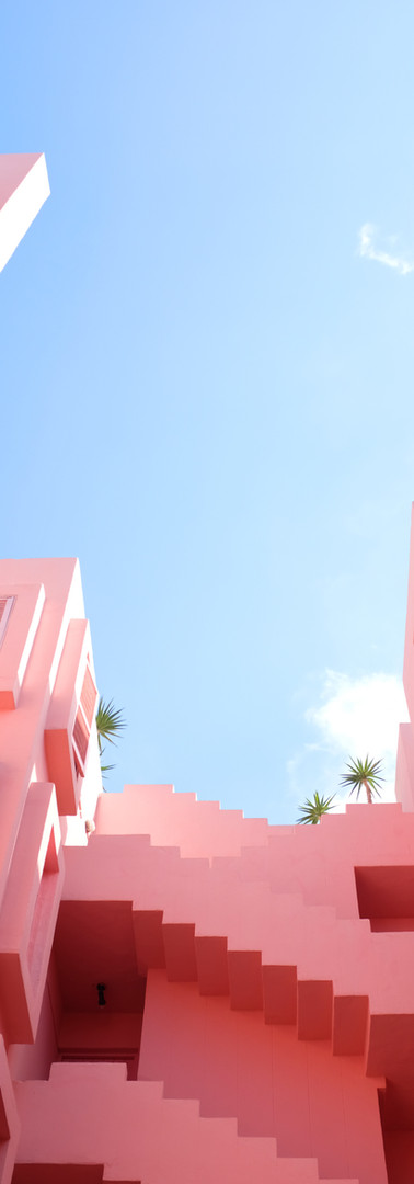 ピンクの抽象画ビル