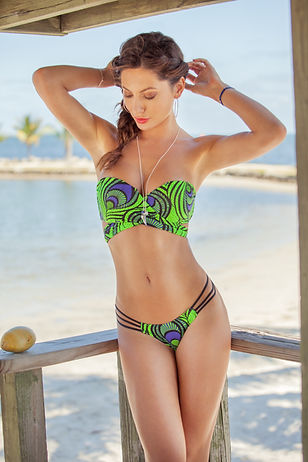 "Venao Swimwear Beach collection featuring ""Mona"" bikini in green & blue peacock print"
