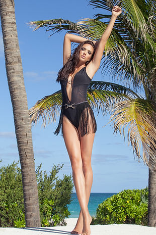 "Venao Swimwear Bandita Colletion featuring ""Cataliya"" black one piece bathingsuit"