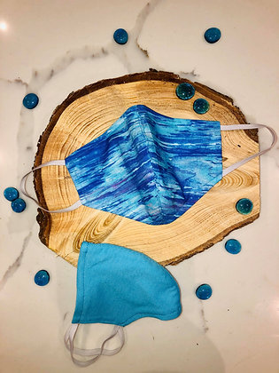 Blue Watercolors Print Adult Mask