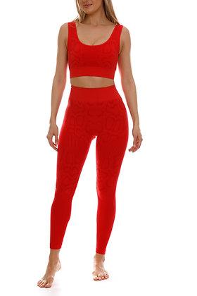 Python Print Seamless Scarlet Red Gym Set