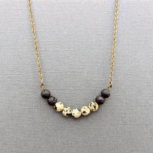 Dalmatian + Lava Diffuser Necklace