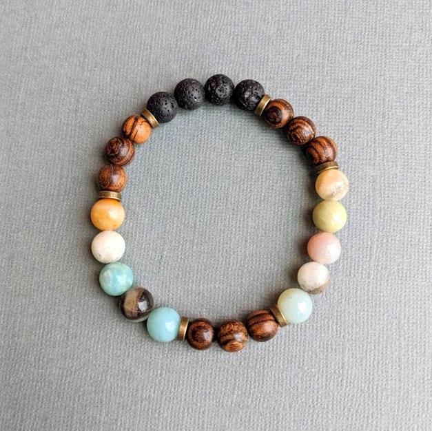 Amazonite + Lava Diffuser Bracelet
