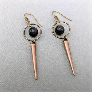 Lava + Circle Copper Earrings