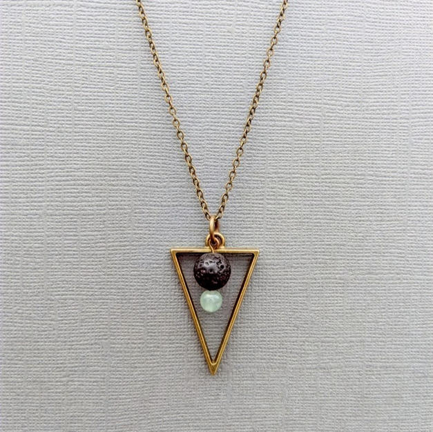 Green Aventurine + Lava Triangle Necklace
