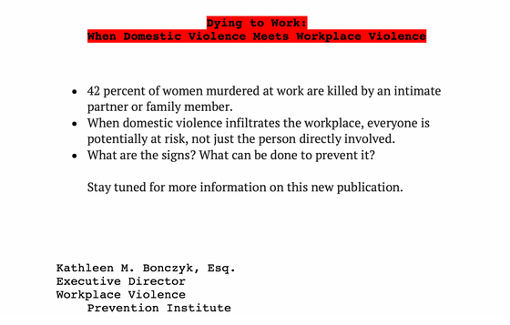Dying to Work: When Domestic Violence Meets Workplace Violence