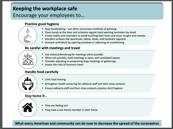 CDC's position on keeping workplaces safer in light of coronavirus pandemic