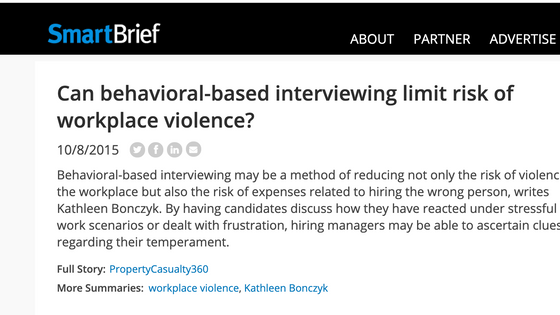 Workplace violence prevention through focused interviewing