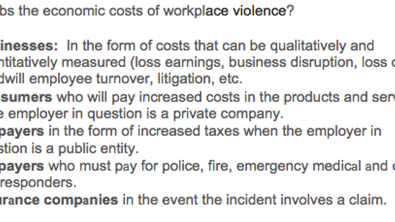 Who pays the economic costs of workplace violence?