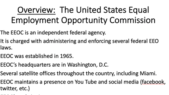 EEOC's webinar on COVID-19 and Equal Employment Opportunities.