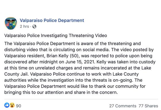 Indiana man taken into custody after publishing video threatening mass murder.