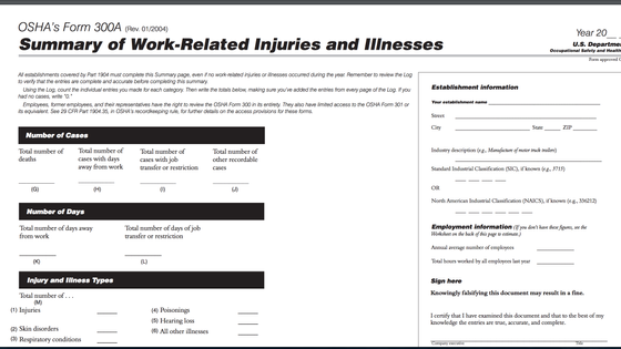 Employers are required to post OSHA 300A forms