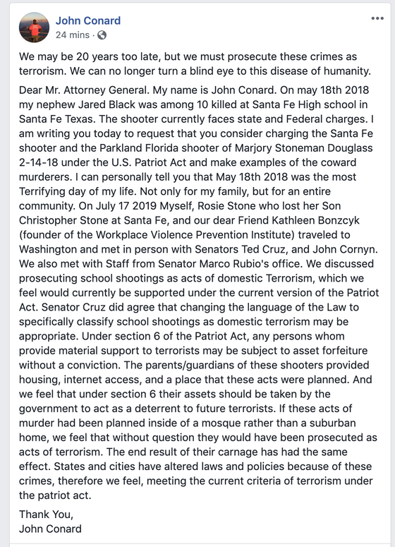 John Conard, Uncle of Jared Conard Black, murdered SFHS Calls for School Shooters to be deemed Domes