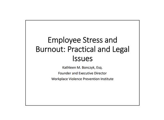Employee Stress & Burnout Seminar