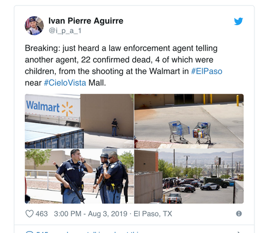 Up to 22 Feared Dead in Today's Mass Shooting at an ElPaso WalMart