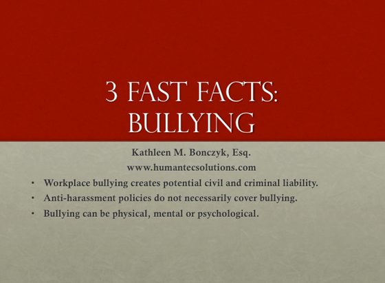 Three Fast Facts: Bullying