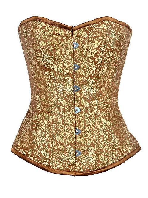 Gold Floral Brocade Over Bust Corset   Size  22