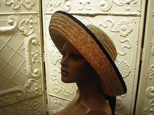 Straw Hat with a Black Satin Sash