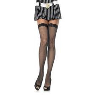 Basic Fishnet Stocking With Lace Top