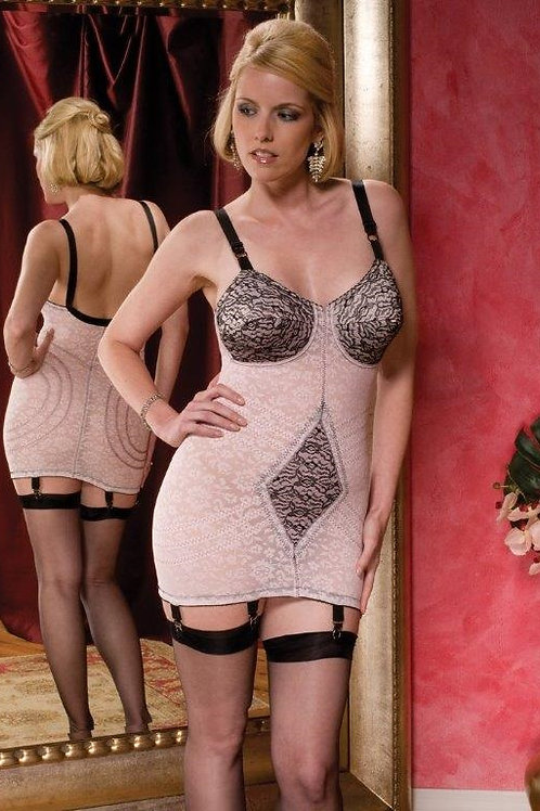 Body Briefer Shaping Open Bottom Two Color Full Coverage with Garters